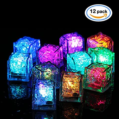 OMGAI 12 x Submersible LED Ice Cubes with Flashing Multi-Color Lights Rocks, Great Party Decoration or Unique Gift