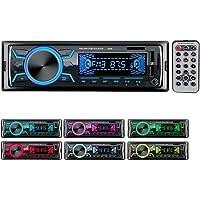 Autoradio Bluetooth Poste Radio Voiture,1Din 2Ports USB Charge Rapide Radio de Voiture, 4x60W Auto Radio 7Couleurs FM…