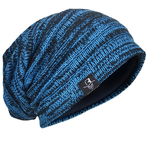 Men s Knit Beanie Slouch Baggy Skull Cap Vintage Long Hip-hop Winter Hat  (Blue b221ea364ee0