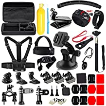 Soft Digits 48 in 1 Kit di Accessori per GoPro Hero 5 4 3+ 3 2 1 SJCAM SJ4000 5000 Xiaomi Yi APEMAN DBPOWER WiMiUS Campark Lightdow e Sony Action Camera - 360 Gradi Rotazione Wrist Strap + Head Strap Mount per Sport all'aperto - Lens Angolo Nero