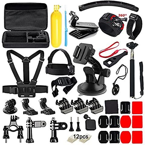 Soft Digits 48 in 1 Accessories Kit for GoPro Hero 5 4 3+ 3 2 1 Action Camera Bundle Set for SJCAM SJ4000 5000 6000 7000 Xiaomi Yi, Apeman DBPOWER Lightdow WiMiUS Rollei IceFox