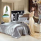 LY&J Sommer Tencel Vierstück,Solid Color Bettlaken 1 Seide.5m 1.8 Meter Weichen Atmungsaktiven Quilt Decken-F 230x250cm(91x98inch)