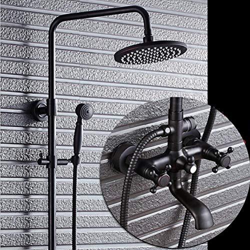 adezimmer Dusche Combo Set Regen Duschkopf Mit Handbrause Und Duscharmatur, Schwarz ()