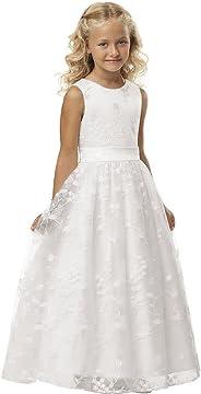 Babyonlinedress® Ärmellos Spitze Hochzeit Blumenmädchenkleider Kinderkleid Festlich Kommunionkleid