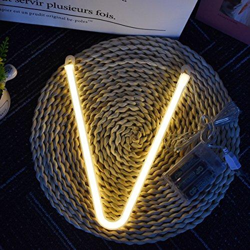 Neon Buchstaben Zeichen Nacht lichter LED Alphabet Neon Art Lichter Lampe Wand Dekor Batteriebetrieben und USB Powered für Hochzeit Geburtstag Hochzeit Bar Schlafzimmer Indoor Decor (V) (Wand Schlafzimmer Dekor)