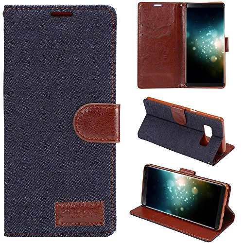 Ooboom® iPhone X Coque Imprimé Floral PU Cuir Flip Housse Étui Cover Case Wallet Portefeuille Stand avec Porte-cartes Fermoir Magnétique pour iPhone X - Blanc Jeans Noir