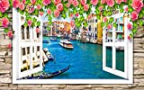 Fototapete Vlies Tapete 3D wallpaper Wanddeko Design Moderne Anpassbare Wandbilder 3D - Schöne Blumen Fenster Blick Aufs Meer Hintergrund - Wand Wandgemälde