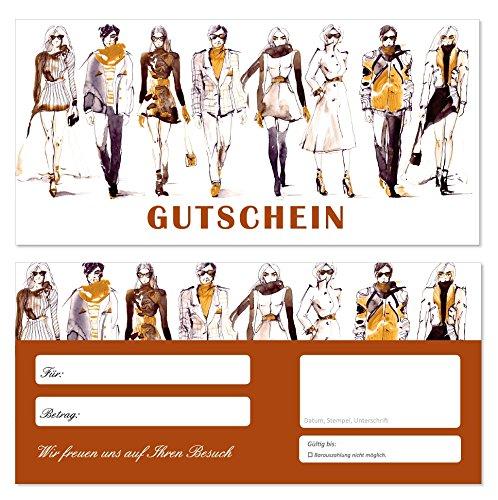 20 Stück Geschenkgutscheine (GUT-704) Gutscheine Gutscheinkarten für Bereiche wie Einzelhandel Mode Klamotten Optiker Brillen Shopping