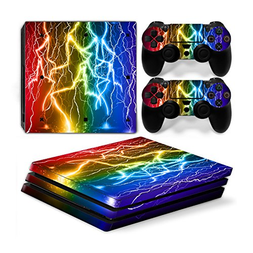 Funky Planet Playstation 4 Pro PS4 PRO Adesivi per pelli in PVC per console e pastiglie - Ridimensionare il tuo PS4 Pro (color flash)