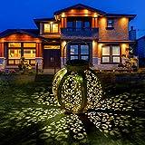 Lanterna Solare Esterno - Lanterna Solare da Giardino Lanterna Solare in Metallo Impermeabile IP44 Lanterna Solare Luci Solari Esterno Decorative Luce Solare per Patio Fuori Lampada Esagonale Oro