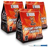 6 Pack (X6, 1KG bags) of Instant Light The Bag BBQ Charcoal for Stoves BBQs Burner - Comes With THE CHEMICAL HUT® Anti-Bacterial Pen!
