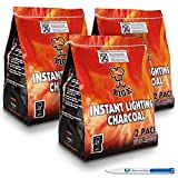 6 Pack (X6, 1KG bags) of Instant Light The Bag BBQ Charcoal for Stoves BBQs Burner - Comes With THE CHEMICAL HUT® Anti-Bacterial Pen!...