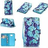 Qiaogle Téléphone Coque - PU Cuir rabat Wallet Housse Case pour Samsung Galaxy A3 (2016) / A3 (2016) Duos / A3100 (4.7 Pouce) - YB29 / Bleu fleur