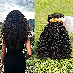 LAdiary Pelo natural humano Virgen Pelo rizado pelo humano brasileño natural humano Kinky rizado remy 8A sin procesar extensiones de cabello natural Color negro natural 1B # 100g / pcs (20cm 25cm 30cm)