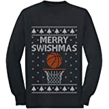 Merry Swishmas Basketball Christmas Ugly Sweater Youth Camiseta de Manga Larga para niños
