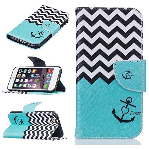 Ooboom® iPhone 8 Plus/iPhone 7 Plus Hülle Flip PU Leder Schutzhülle Tasche Case Cover Wallet Standfunktion mit Kartenfächer Bargeld Aussparrung für iPhone 8 Plus/iPhone 7 Plus - Bär Anker