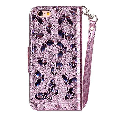 iPhone 6 Hülle, SHUNDA Brieftasche Schutzhülle Flip Leder Handyhülle mit Kippständer Bling Schmetterling Bookstyle Handycover für iPhone 6 / 6S - Blau Lavendel