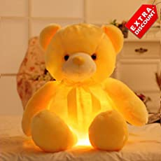 EZ Life Illuminating 7 Color LED Light - Teddy Pillow Plush Toy - Plush and Soft Toy - Yellow - Extra Discount Offer