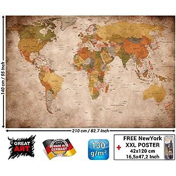 Poster mappemonde XXL 140 x 100 cm