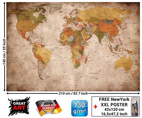 GREAT ART Fotomural mapamundi - Motivo de Estilo Vintage y Retro - Mural de mapamundi XXL - Decoración Mural