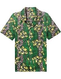 1f1c4899811 Candow Look Green Printed Cotton Batik Camisa Casual para Hombre