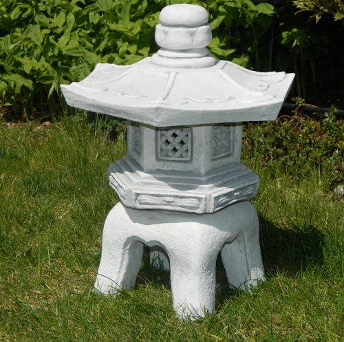Unbekannt Beton Figur japanische Laterne H 40 cm Dekofigur und Gartenskulptur 3-teilig