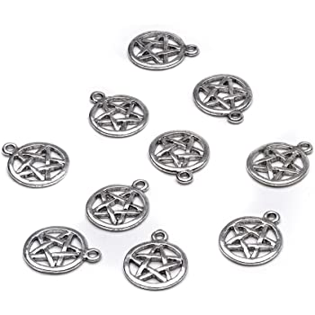 10 x Tibetan Silver PENTAGRAM PENTACLE WICCAN PAGAN HARRY POTTER 3D 20mm Charms
