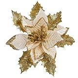 Sixcup  künstlichen Weihnachtsbaum, Blumen, Kränze Weihnachtsstern Künstlich Christstern Weihnachtsblumen Weihnachtsbaumdeko Weihnachtsbaum (Gold, 17CM)