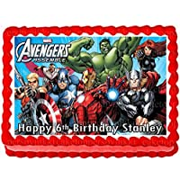 Edible A4 Avengers Hulk Thor Captain America Black Widow Icing Personalised Cake Topper