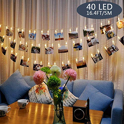 Tomshine 40 LED Photo Clip String Lights Warm White String Lights Battery Operated, Mood Lighting, Decoration For Living Room,Christmas, Wedding, Party 1#