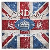 Servietten Spar-Pack (40 Stück) England Londo blau rot 33x33 cm Tischdeko