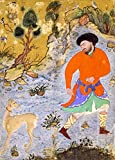 Poster, islamische Kunst, Mann mit einem Saluki, Iran,