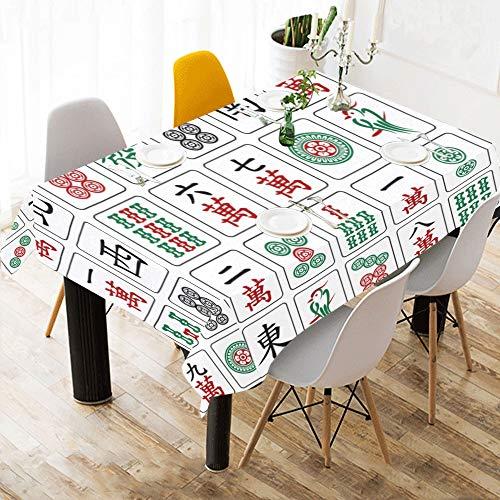 jong Spielen Genießen Spiel Baumwolle Druck Tischwäsche Tuch Abdeckung Tischdecke Für Küche Esszimmer Decor 60x84 Zoll Schule Tischdecke ()