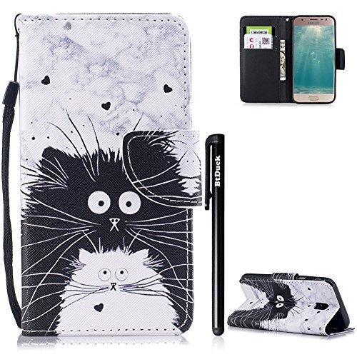 BtDuck Handyhülle Compatible for Samsung Galaxy J3 2017 Tasche Leder Schutzhülle J3 2017 Handytasche Magnetschnalle Ledertasche Hülle Lederhülle Kartenfächer Schwarz-Weiß-Katzen