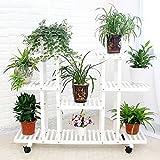 Holz Blumenrahmen Wohnzimmer Balkon Regal Topf Rahmen Klapp Kombination Pflanze Rack L * W * H: 120 * 25 * 80 CM ( Farbe : Weiß )