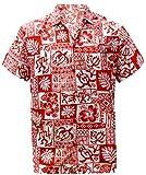 LA LEELA Shirt Camicia Hawaiana Uomo XS - 5XL Manica Corta Hawaii Tasca-Frontale Stampa Hawaiano Casuale Regular Fit rossoA121 M