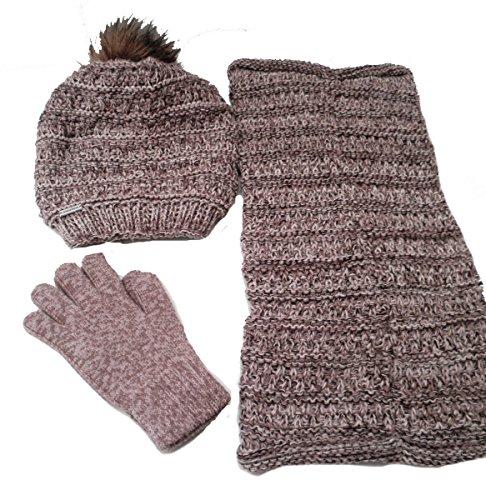Damenmütze 3teiliges Strickset Mütze Handschuhe Schal Loopschal/Stülpschal (Brauntöne)