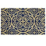 New Style Doormats 60 x 40cm Various Design Coir Doormat Prime Homewares® (Navy Blue Damask Doormat)