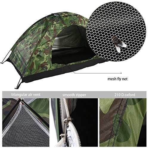 1 Mann Campingzelt Familienzelt Kuppelzelt Camping Dome Zelt, Outdoor Camouflage UV Schutz Wasserdichte Eine Personen Zelt Shelters für Camping Wandern Reise Garten Angeln Picknick Mit Tragetasche