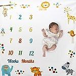 Funpa Baby Monthly Milestone Blanket Cute Animals Decor Baby Photo Blanket Photo Prop