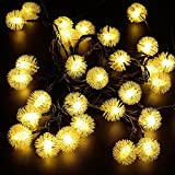 #3: Quace Solar String Lights 6m/20ft 30 LED Water-Resistant Lights Festival Decoration Snow Flakes Shaped String Lights for Indoor Outdoor Bedroom Patio Lawn Garden Wedding Party Decorations - Warm White