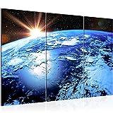 Runa Art Bilder Planet Erde Wandbild 120 x 80 cm Vlies - Leinwand Bild XXL Format Wandbilder Wohnzimmer Wohnung Deko Kunstdrucke Blau 3 Teilig - Made in Germany - Fertig Zum Aufhängen 601031a