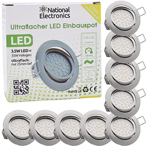 National Electronics® Slim Line Einbauspot in Edelstahl gebürstet mit nur 25mm Einbautiefe! | 9er Set Deckenspot mit integriertem 3.5W 320 Lumen LED Leuchtmittel AC 230V 160° Deckenlampe Einbauspot warmweiß (9er silber)