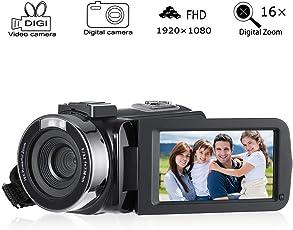 Cozime Videokamera Camcorder Full HD 1080P 24MP 16X Zoom 3,0 Zoll IPS Bildschirm, Mit LED Fill Licht