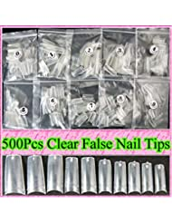 Ungfu Mall 500pcs Clear Nail Tips Artificial Nails Art by Ungfu Mall
