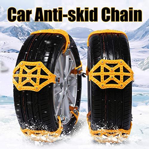 Azfdxgfc, catene da neve per auto, portatili, regolabili, per auto, SUV, camion, antiscivolo, accessori commerciali, giallo