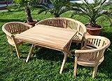 Rustikale Super Edle TEAK Gartengarnitur Gartenset Gartenmöbel TISCH + 2 Sessel + 1 Banke (150cm) COCO Holz geölt von AS-S