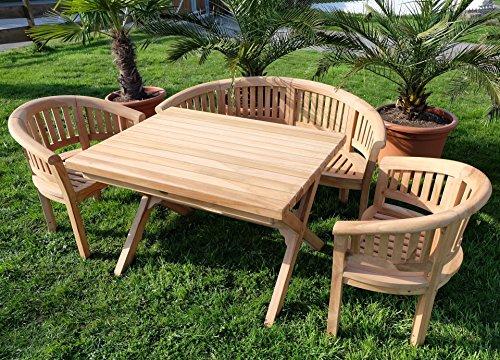 Rustikale Gartenmöbel (Rustikale Super Edle TEAK Gartengarnitur Gartenset Gartenmöbel TISCH + 2 Sessel + 1 Banke (150cm) COCO Holz geölt von AS-S)