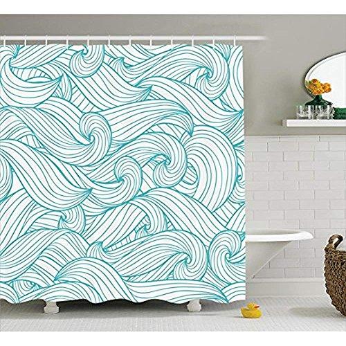 yeuss türkis Decor Kollektion, abstraktes Muster mit Wellen und Cloud Fashion Modern Style Kunstwerk Muster Polyester-,-Badezimmer Dusche Vorhang, Set mit Haken, Light Sea grün 152,4x 182,9cm, 66