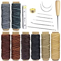 Homgaty 18pcs Leather Waxed Thread 440 Yards Sewing Waxed Thread Cord with Hand Sewing Needles, Drilling Awl and Thimble Tools for Leather Upholstery Craft DIY